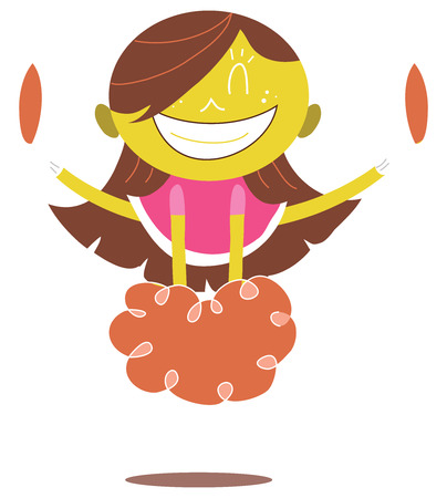 Young illustration of a smiling yellow cheerleader jumping and cheering doing a split in the air. Looks excited.