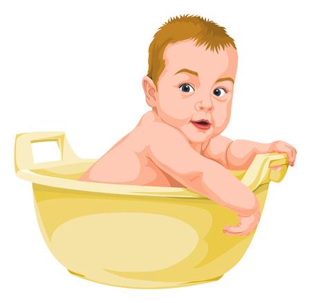 Vector illustration of naked baby boy in bathtub.