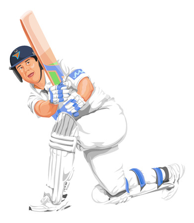 padding: Vector illustration of cricket batsman in action.