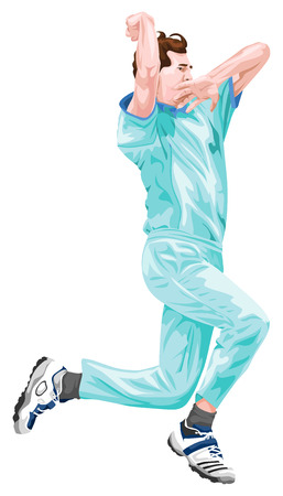 cricket game: Vector illustration of cricket bowler in action.