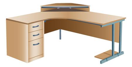angled: Angled corner office desk Illustration