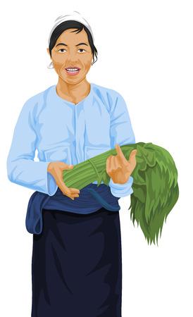 green vegetable: Vector illustration of woman holding bunch of fresh green vegetable.
