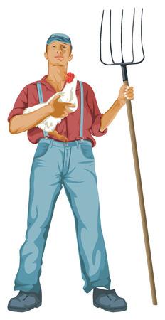 Vector illustration of man holding a hen and shovel.