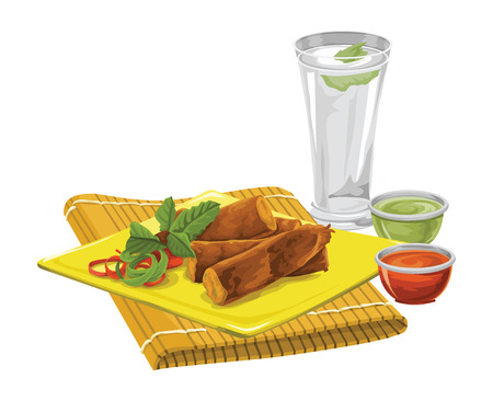 indulgence: Vector illustration of eggrolls on place mat with drink and sauce.