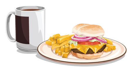 indulgence: Vector illustration of tea mug with burger and french fries for breakfast.