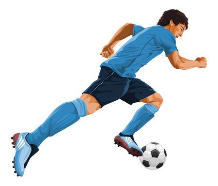 Vector illustration of soccer player kicking the ball.