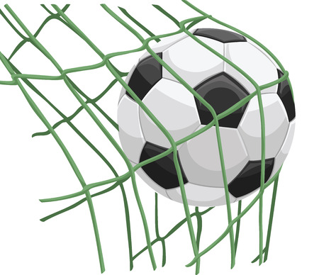 Vector illustration of soccer ball hitting on net.