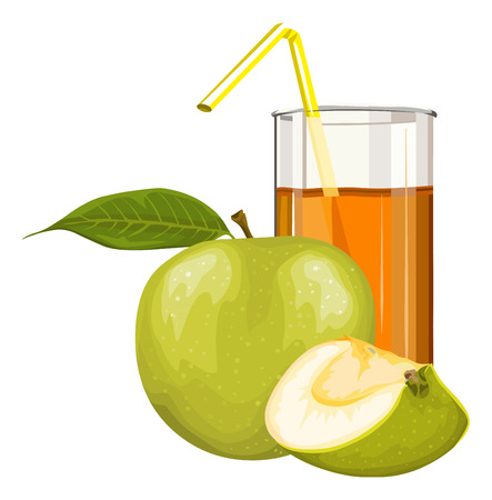 Vector illustration of fresh green apple with juice in glass. Çizim
