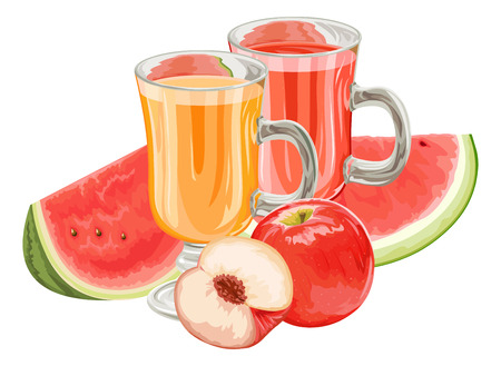 exotic fruit: Vector illustration of fresh fruits with juice in glass.