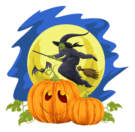 pretend: Vector illustration of halloween pumpkins and flying witch in front of moon.