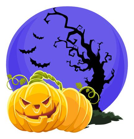 flying bats: Vector illustration of halloween pumpkin with bare tree, flying bats and big moon. Illustration