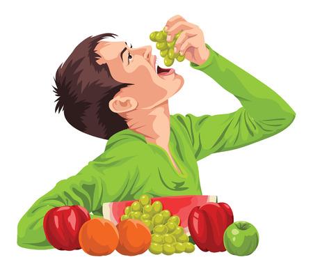 Vector ilustración de un muchacho joven que come las uvas frescas.