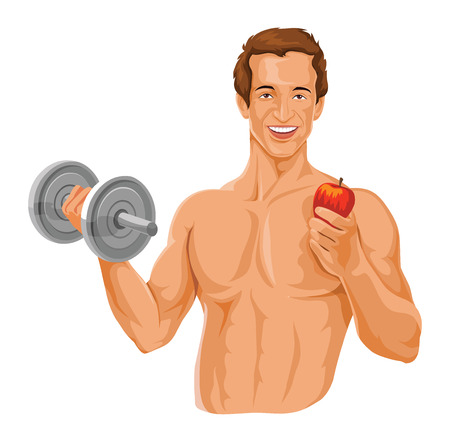 Vector illustration of happy and muscular young man exercising, holding apple.