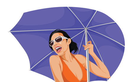 Vector illustration of happy woman in bikini, holding an umbrella. Stock Illustratie