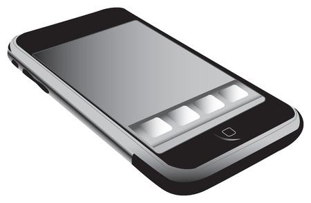 telefon: Telefon komórkowy, zdjęcia realistyczne ekran dotykowy telefon Ilustracja