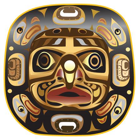 totem indien: Un symbole de masque Lune large représentant les quatre étapes de la lune, ainsi que le reflux et les marées des inondations