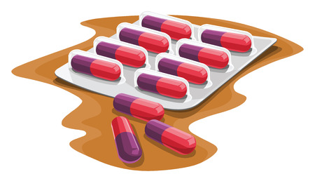Vector illustration of prescription capsule in strip. Illustration