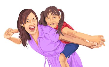 Vector illustration of cute girl enjoying a piggyback ride on mother's back.