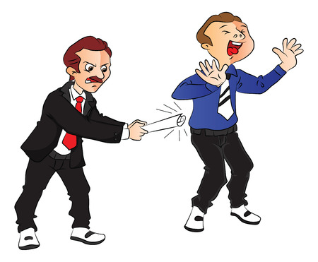manager: Vector illustration of angry boss hitting scared employee at office.