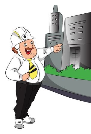 building inspector: Vector illustration of happy engineer pointing towards the building.