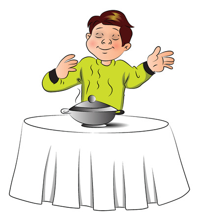 Vector illustration of pleased boy smelling the food in bowl over table..