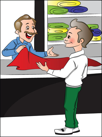 vendor: Vector illustration of clothes shopkeeper helping customer to choose clothes.