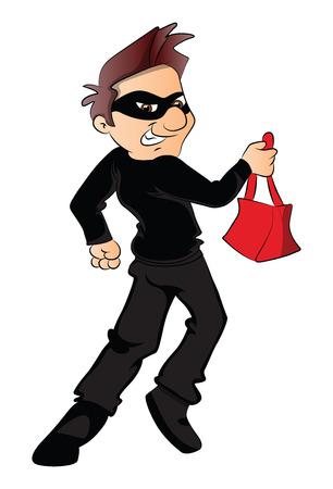 Vector illustration of a thief running with stolen handbag.