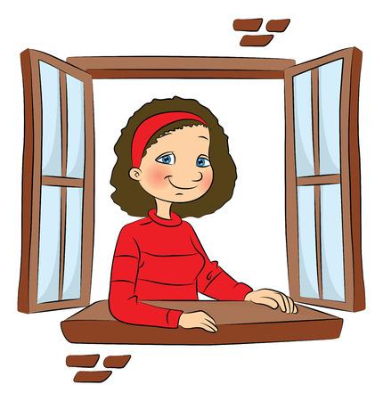 벡터 일러스트 레이 션 창을 통해 밖으로 찾고 웃는 소녀.
