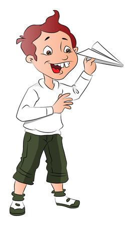 isolated: Vector illustration of happy boy playing with paper rocket. Illustration