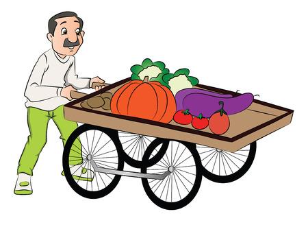 Vector illustratie van vendor duwen plantaardige winkelwagen.