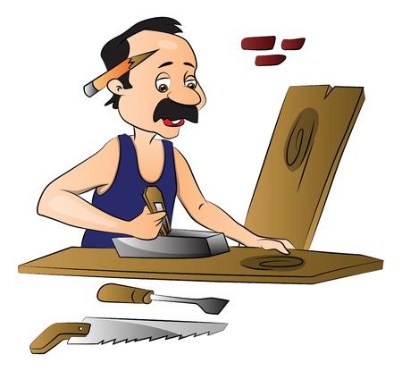 Vector illustratie van de timmerman die op houten frame met behulp van schaafmachine. Vector Illustratie