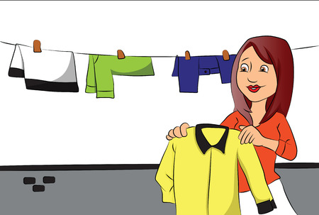 Vector illustration of woman hanging clothes to dry on clothesline. Vetores