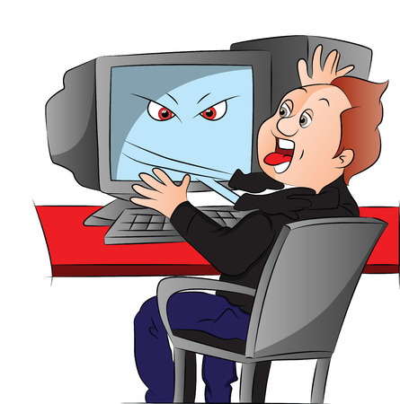 drawing table: Vector illustration of shocked boy attacked by his computer.