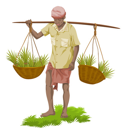 Vector illustration of street vegetable seller carrying vegetables baskets.