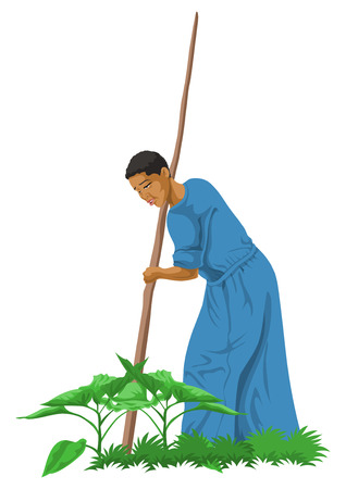 digging: Vector illustration of farmer working on agricultural field.