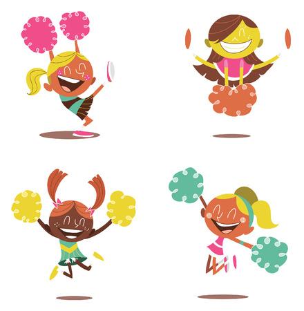 illustration of a smiling cheerleaders cheering
