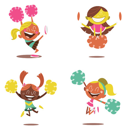 illustration of a smiling cheerleaders cheering