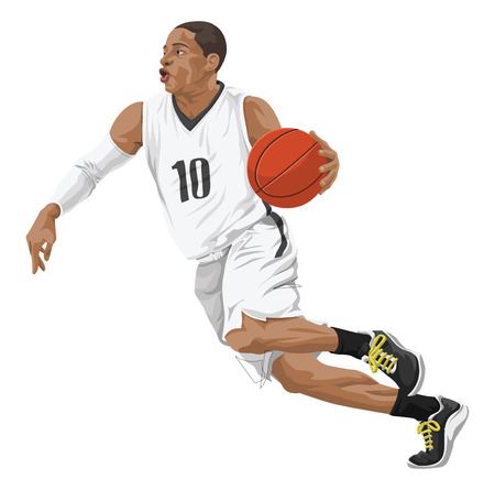 jersey: Vector illustration of basketball player in action. Illustration