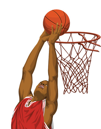 Vector illustration of basketball player throws the ball in bask
