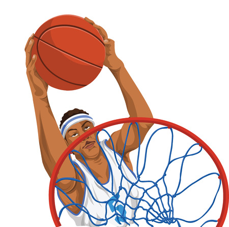 バスケット ボール選手のベクトル イラストはバスケットにボールをスローします。