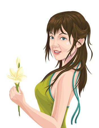anticipation: Vector illustration of happy and beautiful young woman holding a flower.