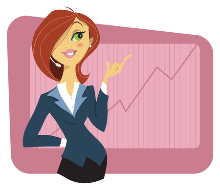 business woman: Sexy young woman in a business suit showing a graph of successful finance or company growth