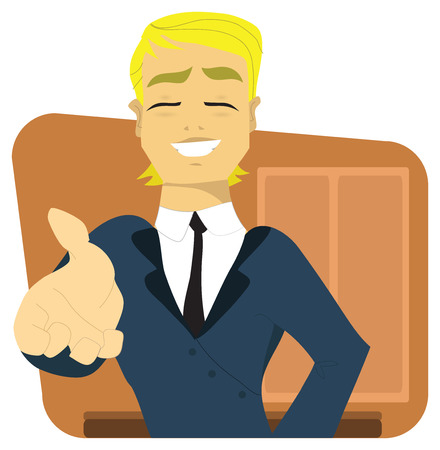 recruter: Jeune directeur ou patron, homme d'affaires dans son bureau, offrant sa main ou une poign�e de main, dit la recrue a obtenu son travail!