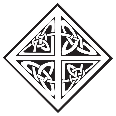 A square celtic knots design with four sections, isolated against a white background Illusztráció
