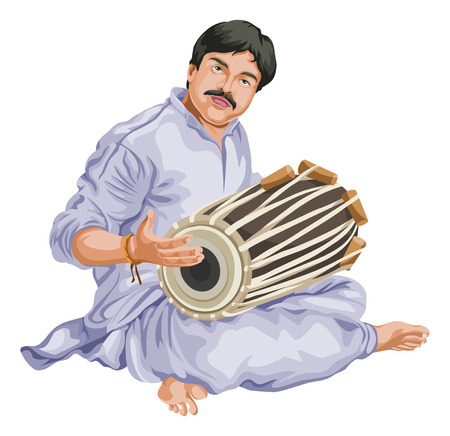 instrument practice: Vector illustration of man playing dhol.