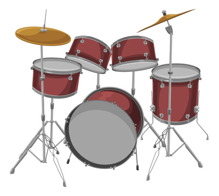 drum and bass: Vector illustration of drum kit.