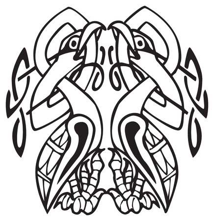 Celtic design of a two birds biting their own neck, with knotted lines and pattern. Great for artwork or tattoo