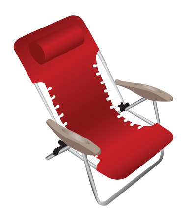 Red folding aluminium armchair with a pillow, isolated against a white background.