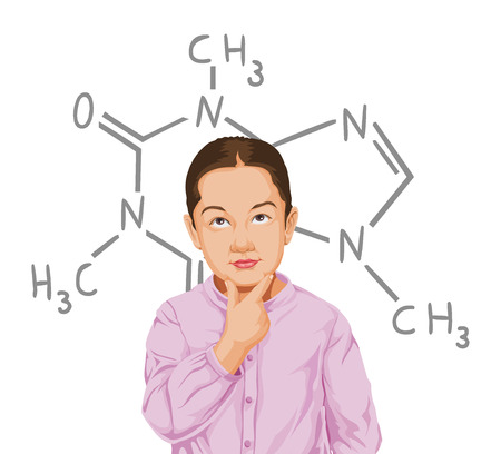 structural formula: Vector illustration of thoughtful boy surrounded with structural formula.