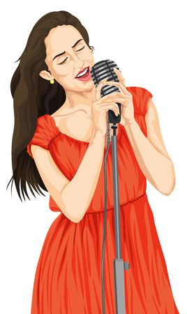 Vector illustration of woman singing on microphone. Ilustrace